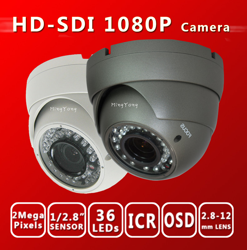 Free shiping HD SDI 1080P 1/2.8''Sony Exmor Sensor digital security camera Varifocal Dome 36 IR 2.8-12MM SDI cam cctv camera(China (Mainland))