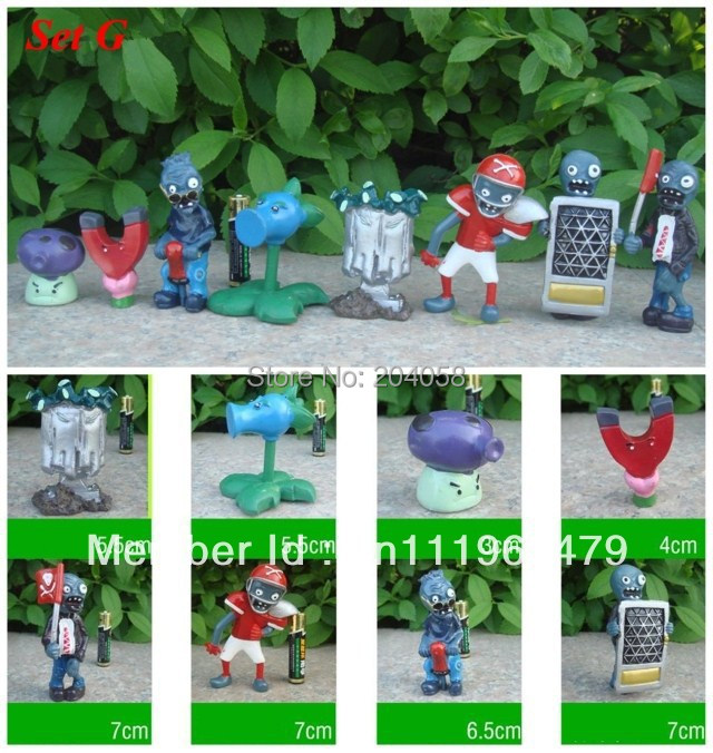 Free shipping New 8pc Plants vs Zombies Figures PVZ Toys Football Flag Pogo Zombies Dolls Game Collections Car Ornaments Set G(China (Mainland))