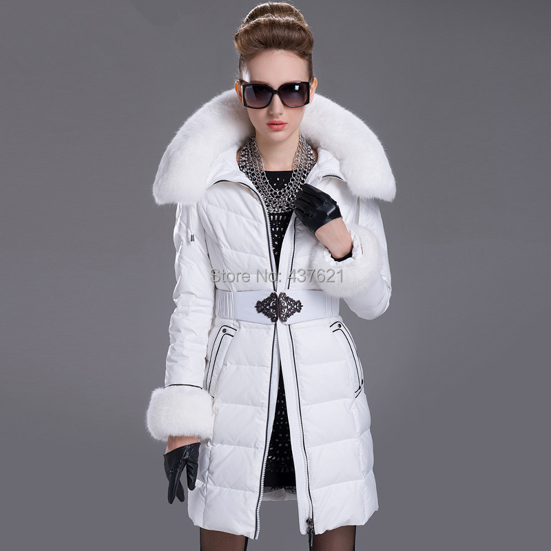 Skinnwille 2015Women winter luxury large rabbit fur collar slim medium-long jacket women's plus size brands coat - Happy Time Store 437621 store