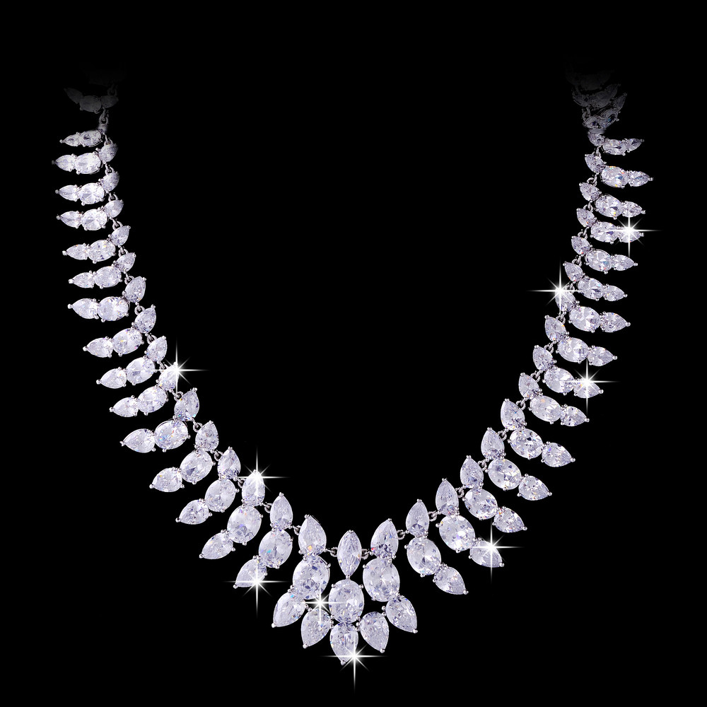 Luxury Jewelry Women Full Rhinestones Flower Necklace White Gold Plated Wedding Engagement Necklace<br><br>Aliexpress