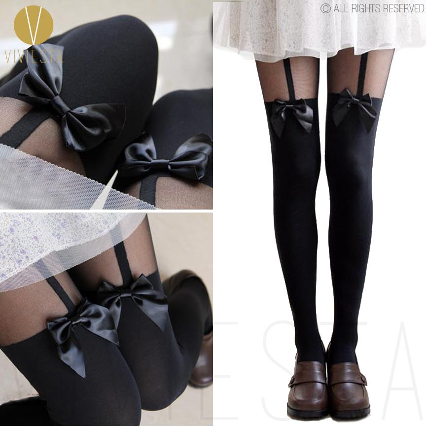 BOW MOCK SUSPENDER TIGHTS - 120D + 30D Vintage Cute Sheer Bowknot Ribbon Over The Knee Pantys Medias Hosiery Stockings Pantyhose(China (Mainland))