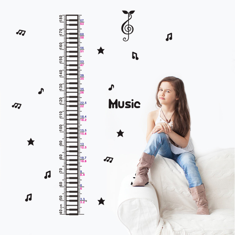Relax Music Notes Height Measure Chart Wall sticker For kids Rooms Children Wall Decals Cartoon wall decals home decor(China (Mainland))