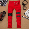 Brand Clothing Mens Ripped Skinny Hiphop Jeans Hole Straight Red Denim Skinny Leather Pants for Men