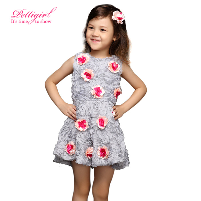 Pettigirl A-line Sleeveless Gray Petal Red Flower Girl Princess Dresses Infant Girls Summer Retail Kids Clothes GD31115-35 - Little Miss Apparel Co.Ltd. store