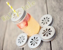 2pcs Drink bottle caps Daisy stamped drinking jar lids ,metal pewter jar lids for party wedding(China (Mainland))