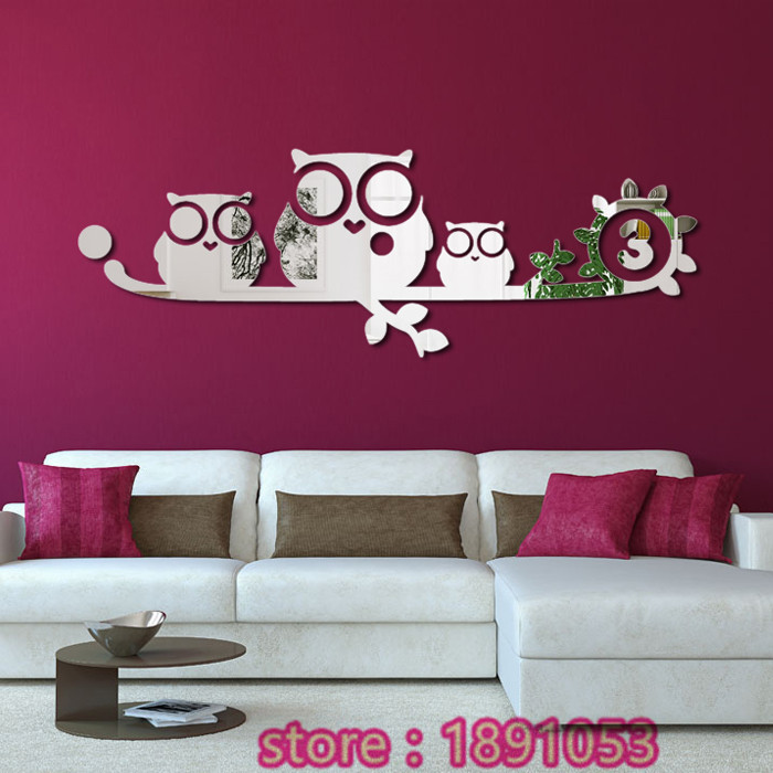 Popular owl mirrors buy cheap owl mirrors lots from china for Stickers miroir