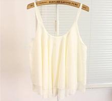 Feitong 1PC Women Summer Clothing Bilayer Sleeveless Shirt Chiffon Loose Vest Tops Free Shipping Wholesales 5037(China (Mainland))