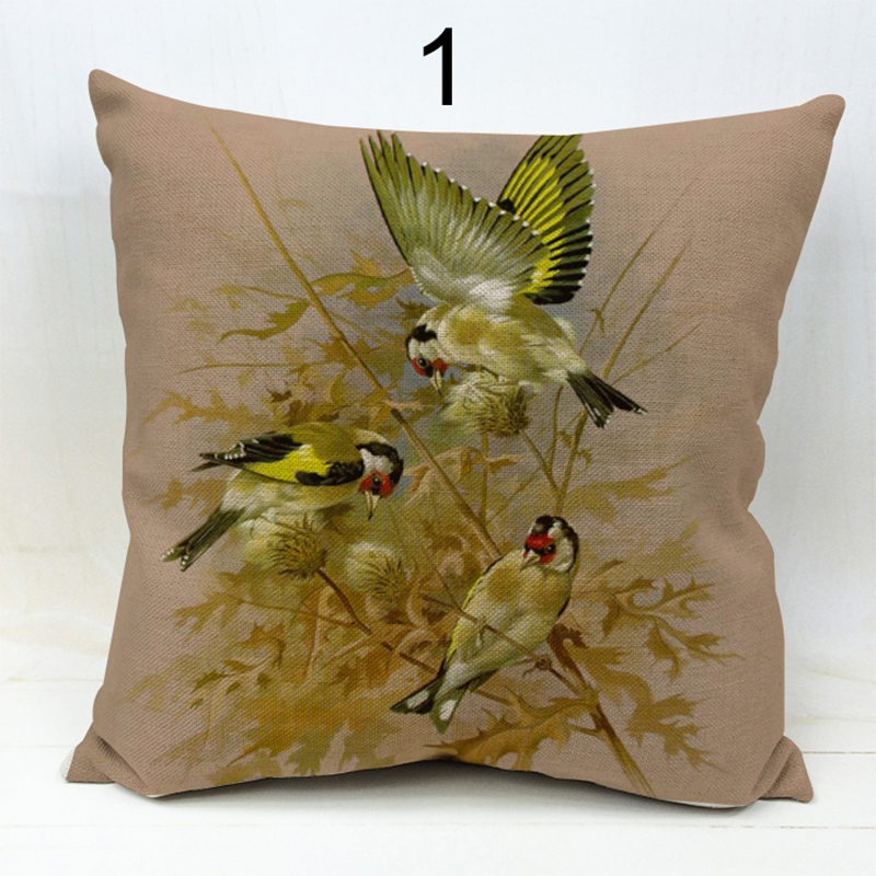 Wholesale decorative throw pillows case for sofa car bed tree and bird parrot cover cotton linen