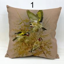 Tree bird and parrot cotton linen throw pillows cover