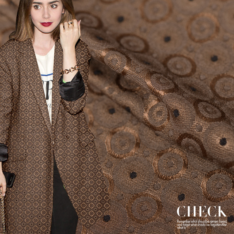 49 Mumi heavy silk jacquard fabrics or excess winter coat style dress silk wool blend fabric clothing wholesale cotton cloth(China (Mainland))