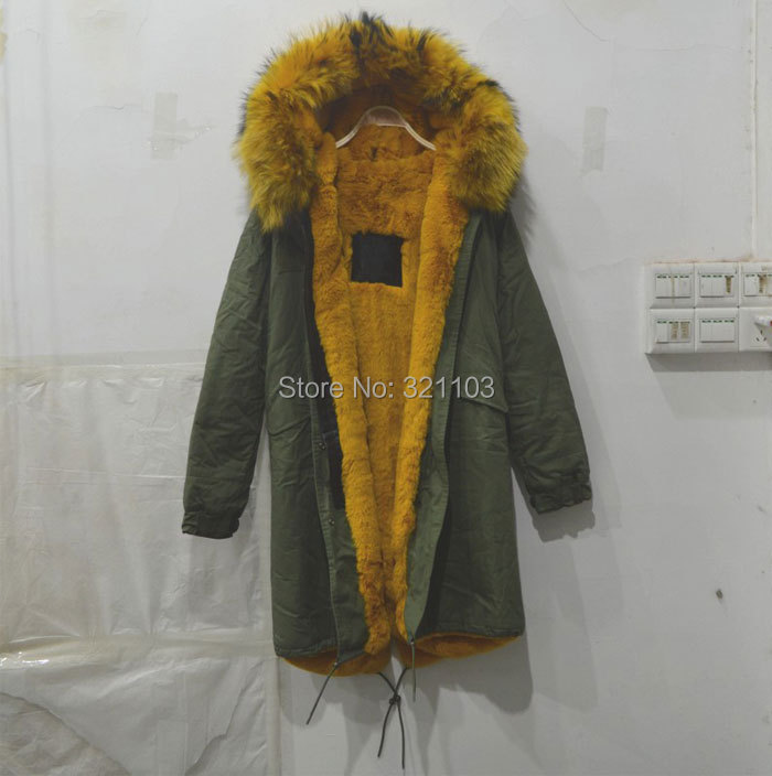 Large raccoon fur collar hooded coat army green long jacket woman Mr outwear, 2016 fashion Mrs furs parka - foxfurs store
