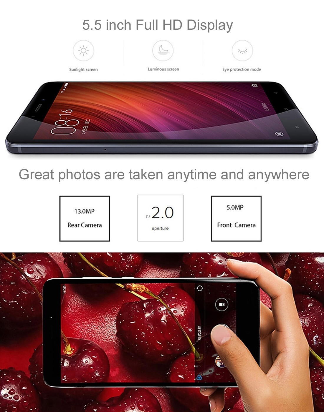 Original Xiaomi Redmi Note 4 5.5 inch MIUI 8.0 MTK Helio X20 Deca Core up to 2.1GHz RAM 2GB ROM 16GB 4G Phone Call Tablet PC