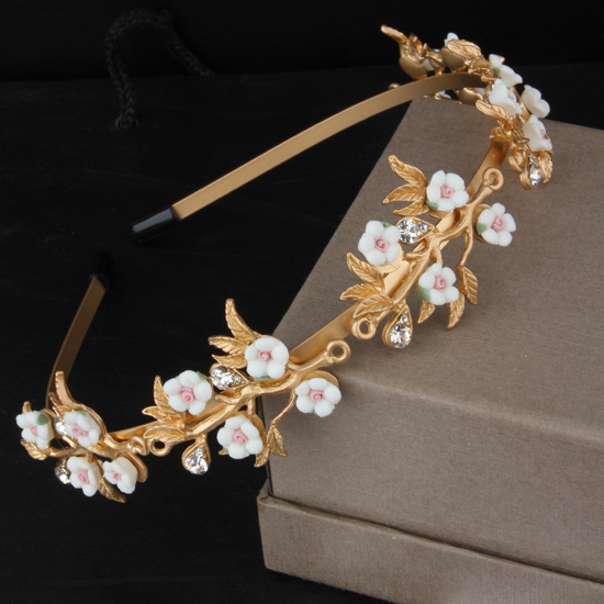 New Gold Plated Acessories Fashion Baroque Hairbands For Women Exquisite Small Flowers Headband Crystal Princess Tiara Jewelry(China (Mainland))