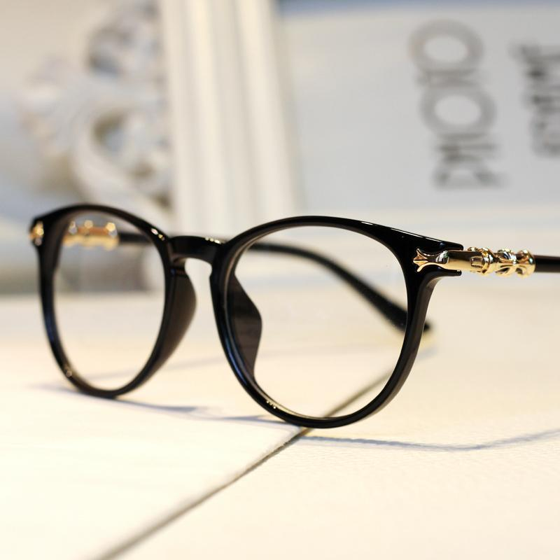 Large Frame Ladies Reading Glasses : hot retro women big clear glasses frames metal decoration ...