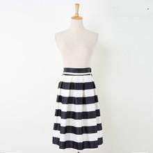 New Summer Style Women Fashion Skirt Striped High Waist Skirt Pleated A-line Skirt