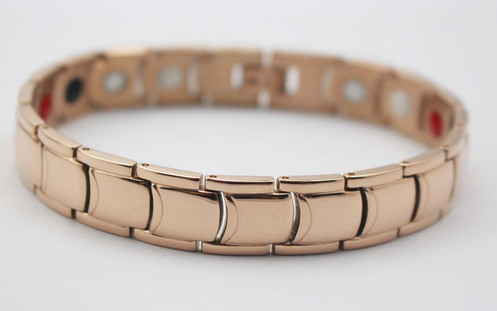 2015 Rose Gold Plated Stainless Steel Magnetic Therapy High Strength Power Bracelets(China (Mainland))