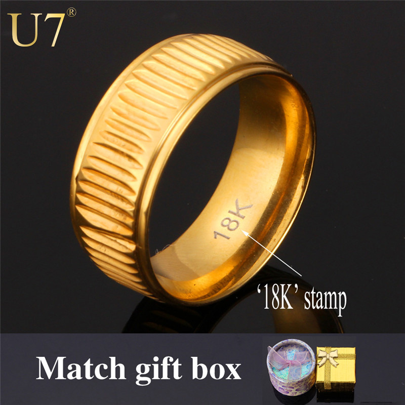 "Gold Ring Stamped ""18K"" Real Gold Plated Arrivals Trendy Unisex Women/Men Jewelry Wedding Bands Ring Wholesale R362(China (Mainland))"