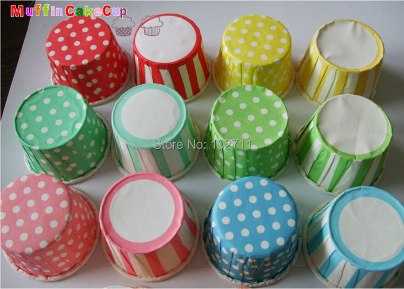 Striped and Polka Dot Candy Cups, muffin cupcake paper cups-pick red pink gold silver mint orange blue white Treat Cup, Favors(China (Mainland))