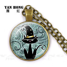 Cat, the best animal friend of mankind. Making 25MM Necklace Pendant(China)
