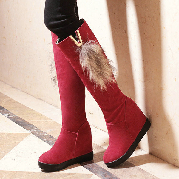 Warm Women Knee High Boots Round toe Height Increased Women Boots Warm Winter Snow Boots Shoes Woman