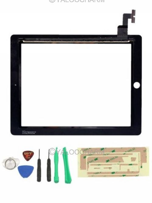 Hot 1pc Touch Screen Glass Digitizer Replacement+ Adhesive Glue Tape 3M for Apple iPad 2 Free Shipping 80367