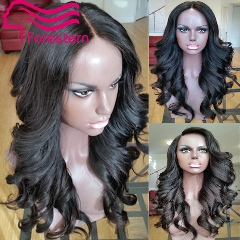 Middle Parting 4*4 Silk Top Full Lace Wig Brazilian Virgin Human Hair Body Wave Silk Base Lace Wig with Baby Hair