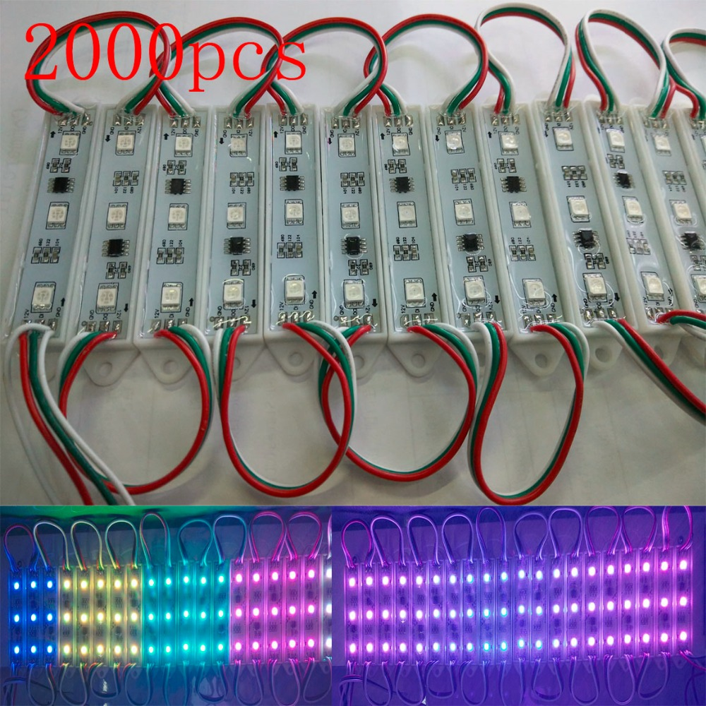 FREE DHL 2000pcs Samsung chip Magic color 1903 IC 5050 RGB Digital DMX LED Module light,DC12V advertising/windows light(China (Mainland))