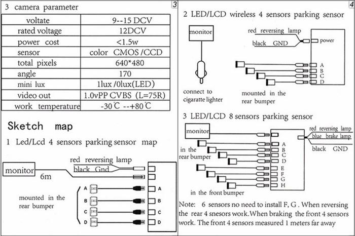 2017 Car Parking Sensors Parktronics 4 Black/silver/white