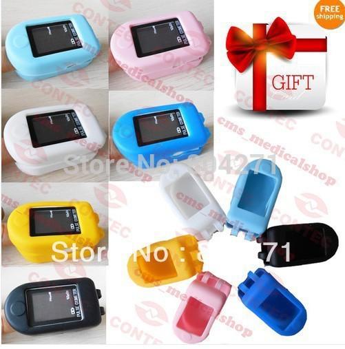 Rubber case gift +Fingertip Pulse Oximeter Spo2 Monitor ,Fast shipping CONTEC Brand CE&FDA(China (Mainland))