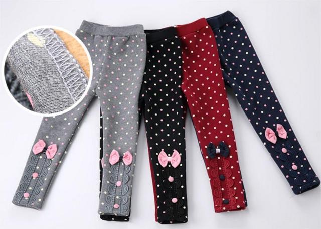 4 цветов девушка меха штаны детей дети хлопка девочек точка с бантом брюки мода