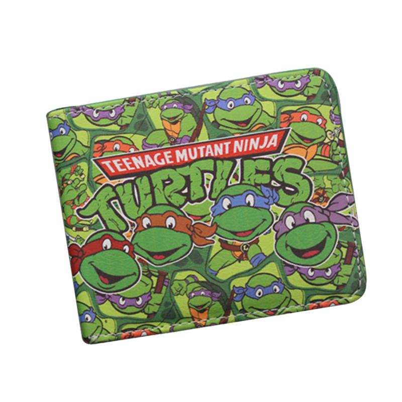 Japanese Cartoon Wallet Short Leather TMNT Wallet Tortoise Movie Purse Men Bifold Green Wallet Teenager Boys Girls Game Bag