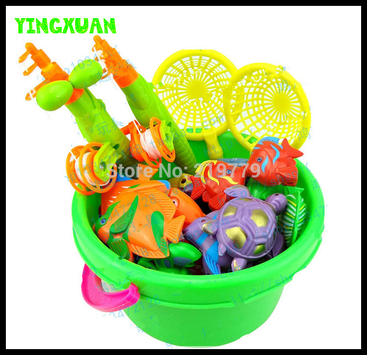 49 Piece set Magnetic Fishing Toy With 4 pieces Fishing Rod+3 Web+42 Double Faced Three-dimensional Fish Baby Bathing Toys<br><br>Aliexpress