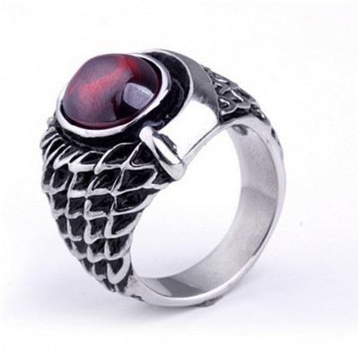 free shipping top quality Individuality Fashion trend wholesale ruby The scales sheet ring Titanium steel sell well accessories(China (Mainland))