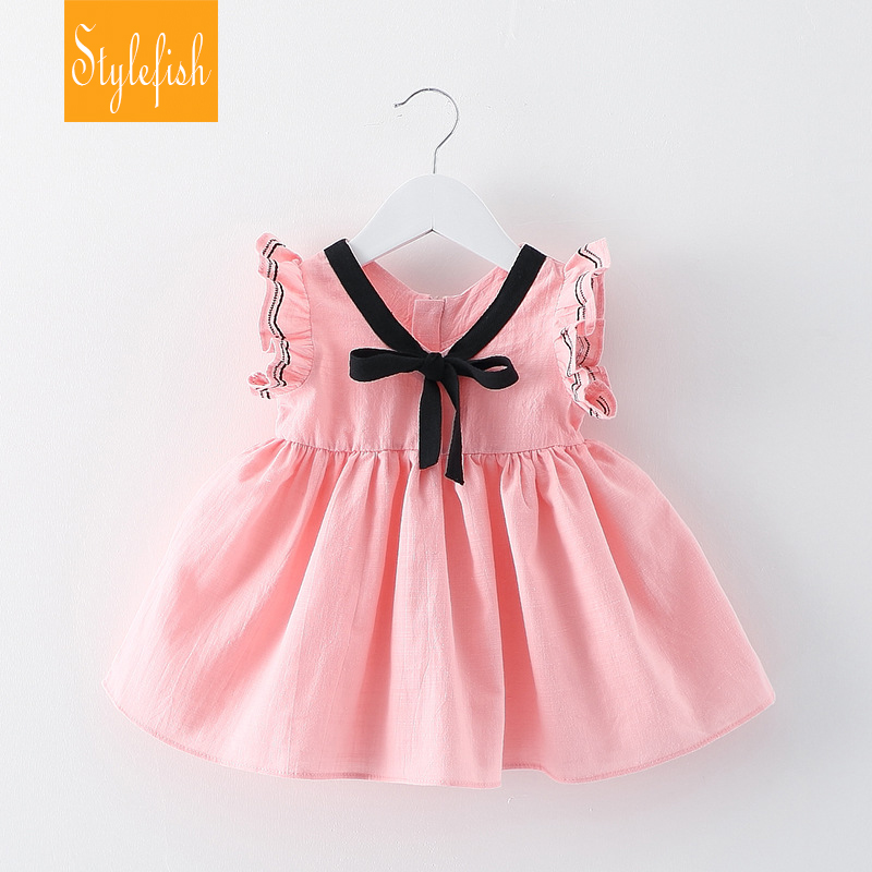 2016 New Female Baby Sweet Style Girls Childen Dress Summer Cotton Bow Boats Sleeve Princess Dress Hot Sale(China (Mainland))