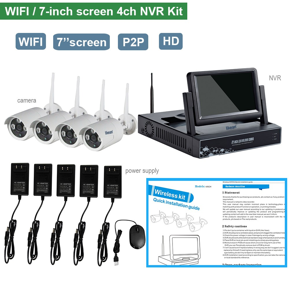 NEW 7-Inch screen NVR wireless network video server wifi ip camera with nvr kit 4 wireless ip camera output wifi nvr kit 1TB HDD(China (Mainland))