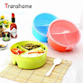 TRANSHOME 2017 Split Candy Color Sealed Lunch Box Plastic Round Bento Boxes Microwaveable Food Containers Picnic