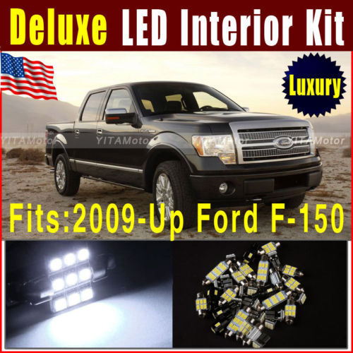 12pcs Deluxe White LED Light Bulbs Interior Package Kit 2009-Up for Ford F-150 Car Map Dome Trunk License LED Light Lamps ~E(China (Mainland))