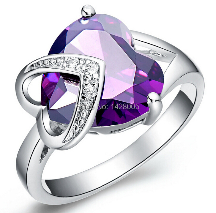 2015 Love Style Sincere Heart Ring,Real 18K Gold Plated Micro Purple Red Rings For Women,2Colors Promise Ring RWG014(China (Mainland))