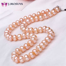 2015 Natural 100% Genuine Pearl Necklace Mother Gift Precious Round White Pink Purple Pearl Jewelry Choker Necklace