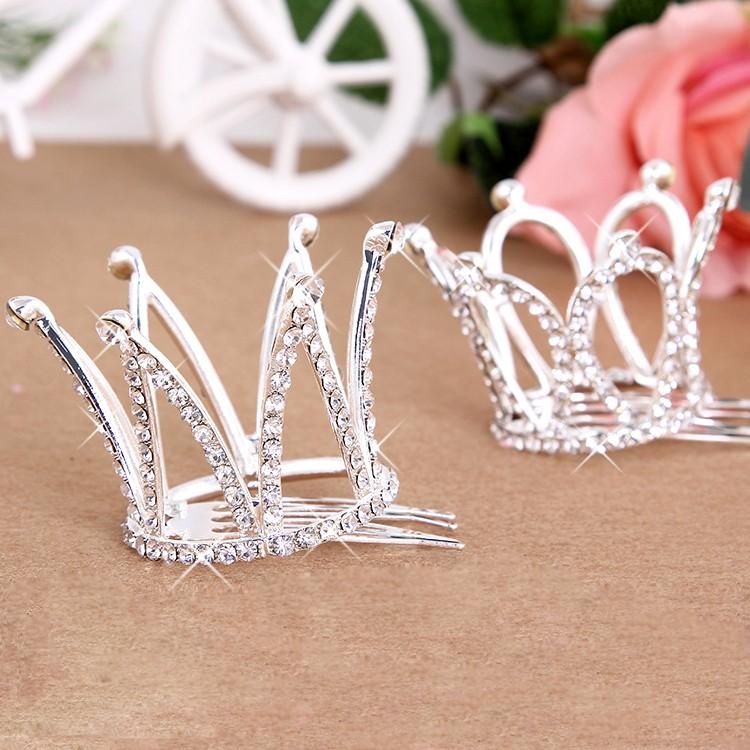 Small Girls Crown Tiara Hair Combs Clear Stone Crystal Mini Tiara Hair Accessories Jewelry