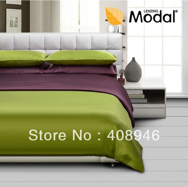 120453 Fedex free shipping! 4pcs home textile 100% modelgreen &Coffee color bedding set /Green fabrics/Virgin pulp fiber
