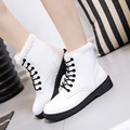 Winter Women PU Leather Fashion Boots Hot Women Warm Plus Velvet High Top Shoes Female Lace
