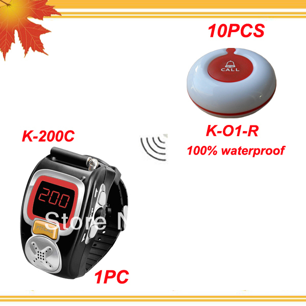 Wireless service pager system for bars w 1pc wrist watch pager and 10pcs table bells 100% waterproof