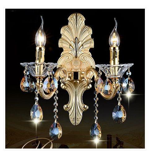 European Crystal wall lamp sconces candle lamp crystal livingroom bedroom corridor hallway zinc alloy Wall lamp with crystal K9(China (Mainland))