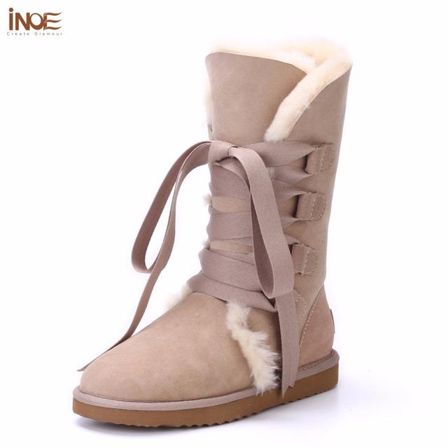 ИНОЕ женская Мода узелок зимние высокого снега сапоги реального кожа овчины природа меховой подкладке зимние квартиры обувь бантом черный коричневый
