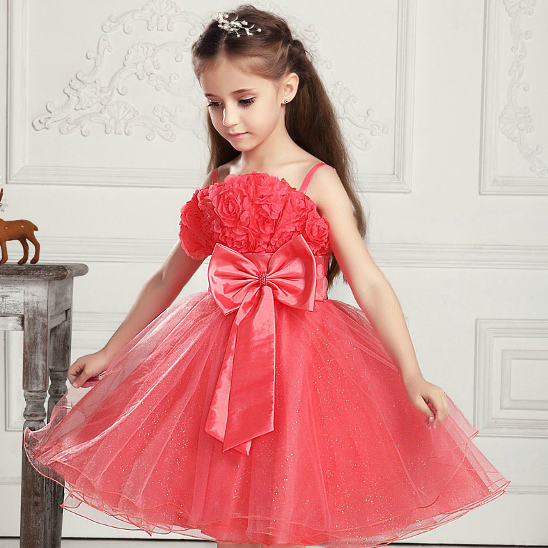 2015 Brand New Girls Floral Ruffle Evening Party Dresses Girls Sleeveless Bowknot Light Blue Red Lace Formal Wedding Dress, C036(China (Mainland))