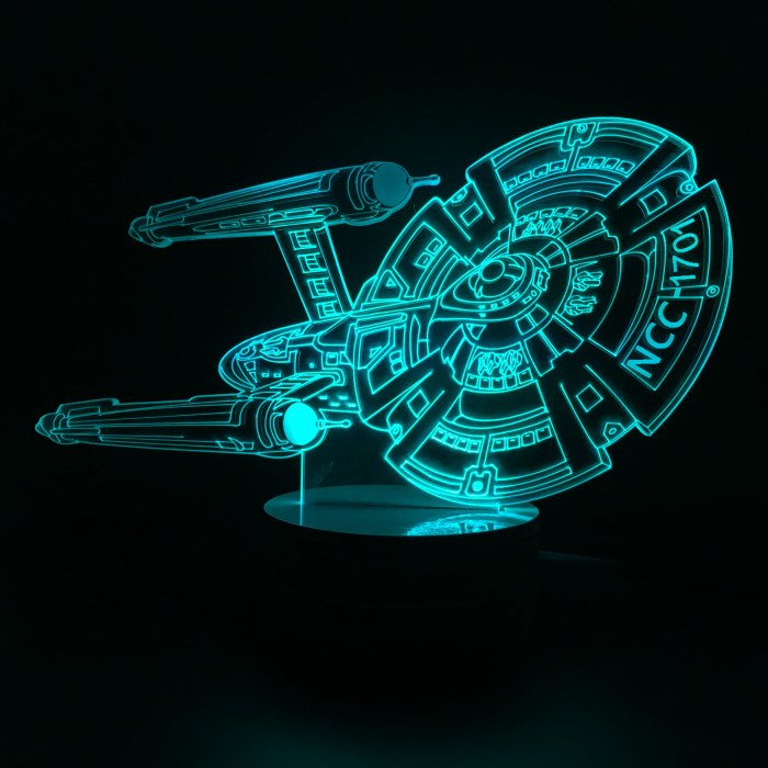Free Shipping 4Pieces 3D Design Bulbing Lamp Star Trek Iron Man Star Ship USS Enterprise NCC-1701 Color Changing LED Desk Lamp(China (Mainland))