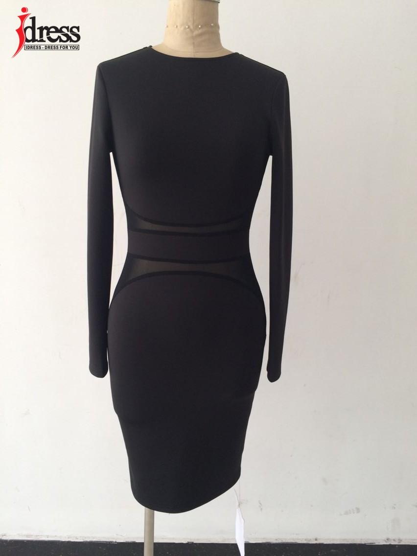 IDress 2016 Autumn Winter Women Fashion Black Mesh Patchwork Sexy Bodycon Dresses Long Sleeve Wholesale Drop Ship Vestidos (2)
