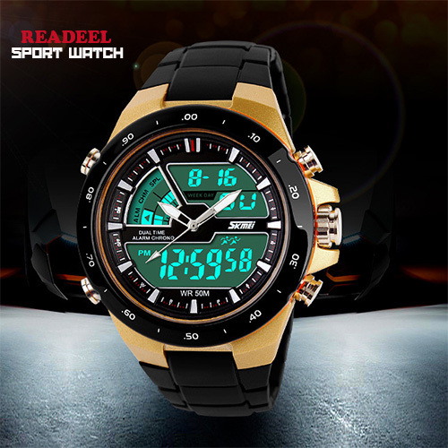 50M Waterproof Mens Sports Watches Relogio Masculino 2015 Hot Men Silicone Sport Watch Reloj S Shockproof