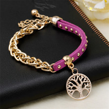 2015 New Cheap Gold Suede Chain Life Tree Charm Leather Wrap Bracelet pulseira couro pulsera hombre Women Jewellery Bijoux